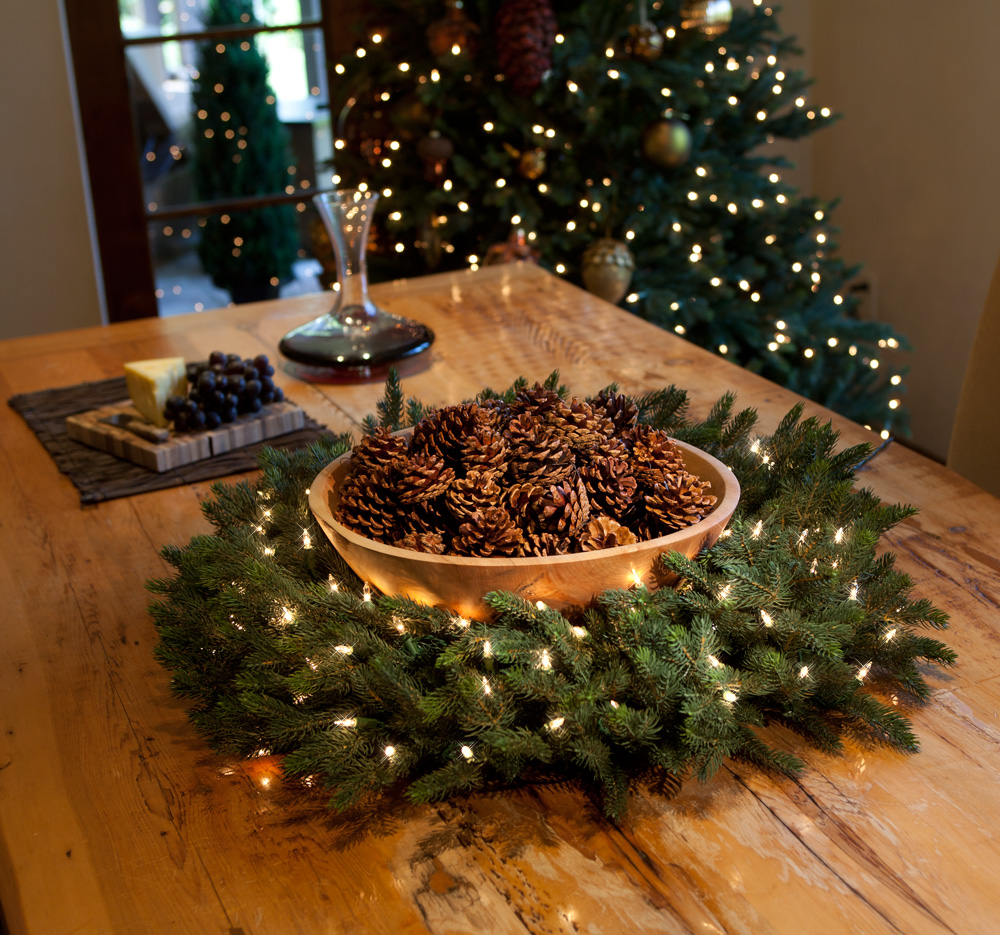 "Balsam Hill's <a href=""http://www.balsamhill.com/Big-Pinecones-p/5021493.htm"" target=""_blank"">Pinecone Kit</a> and <a href=""http://www.balsamhill.com/Norway-Spruce-by-Vermont-Signature-p/nwy-w.htm"" target=""_blank"">Norwegian Spruce wreath</a>"