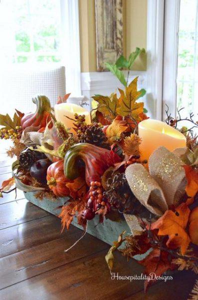 Balsam Hill's Fall Harvest Garland as a centerpiece