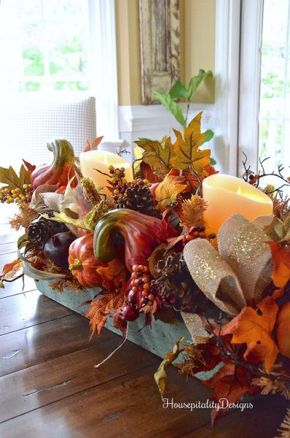 Balsam Hill's Fall Harvest Garland as a centerpiece