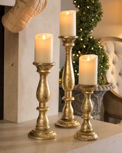 Golden Wood Pillar Candle Holders