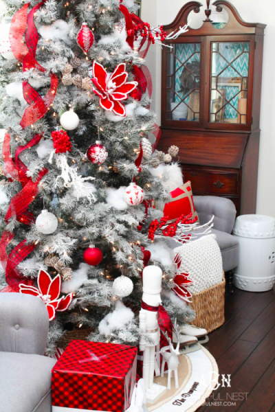 Artificial Christmas tree decorated by Blissful Nest