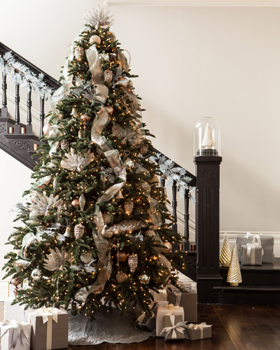 Our BH Noble Fir Christmas tree with clear lights - How To Decorate With White Vs Multi-Colored Christmas Lights Balsam
