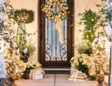 Silver and Gold Christmas Entryway