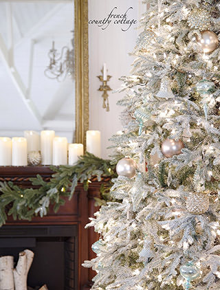 Balsam Hill's Frosted Fraser Fir, as decorated by Courtney of French Country Cottage