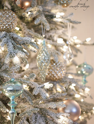balsam hills frosted fraser fir as decorated by courtney of french country cottage - White Christmas Decorating Theme