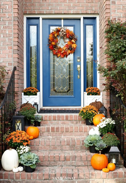 Vibrant hues in a charming fall porch