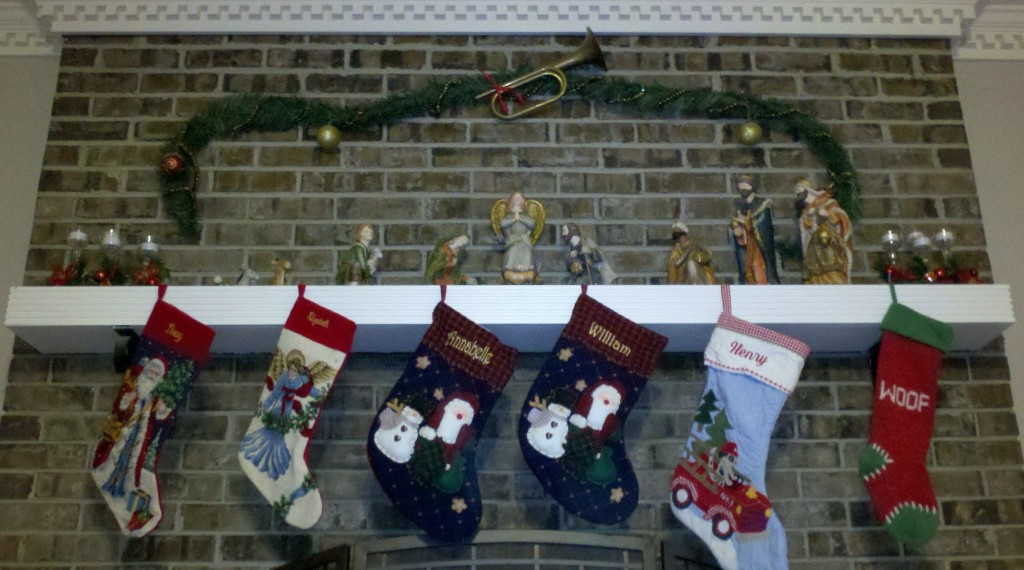 stockings hanging by the fireplace decorated by Elizabeth Copeland