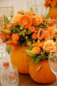 Fall Flowers in Orange Pumpkins