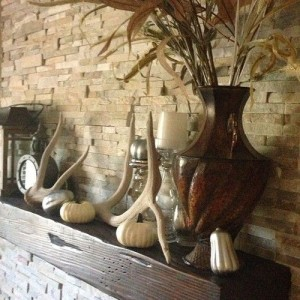Deer Antlers and Feathers as Mantel Pieces