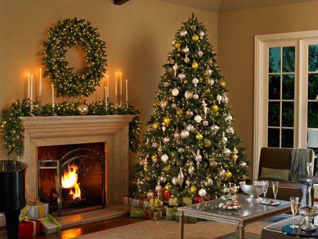 artificial christmas tree, wreath and garland in a traditional living room