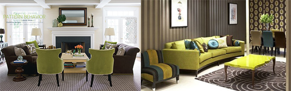 green seating fixtures and brown furniture pieces