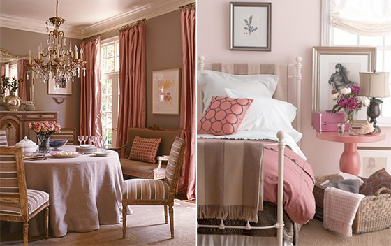 brown fixtures and pink upholstery creates a chic display for your home