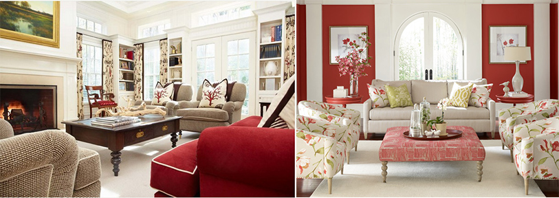 red as accent hues in your relaxing sitting room