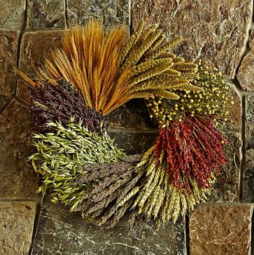 A natural wreath with stalks of dried grains and grasses