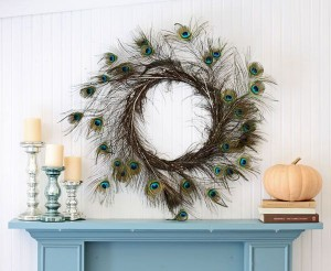 A wreath made of peacock feathers perfect for any season