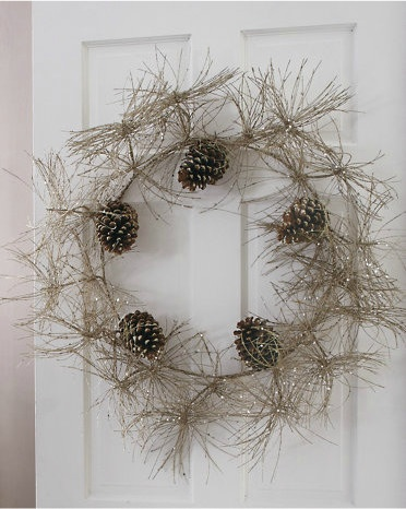 A sparkly pine cone wreath for contemporary homes