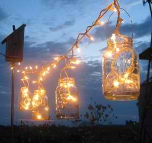 Christmas lighting in mason jar for outdoor fall parties