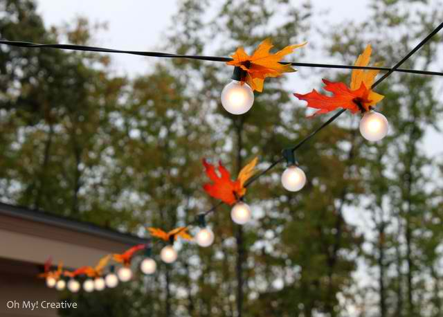 Autumn leaf lighting for outdoor fall parties