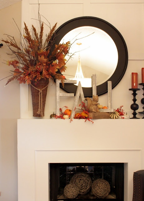 Distressed Letters and Autumn Harvest as Mantel Decor