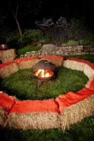 haystack seating for campfire activity