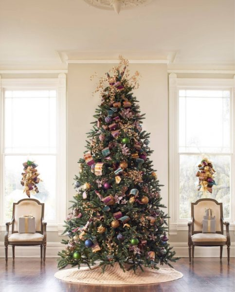 Jewel tones color-themed Christmas tree