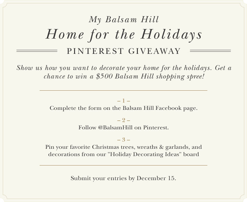 Home for the Holidays Pinterest Giveaway Official Rules