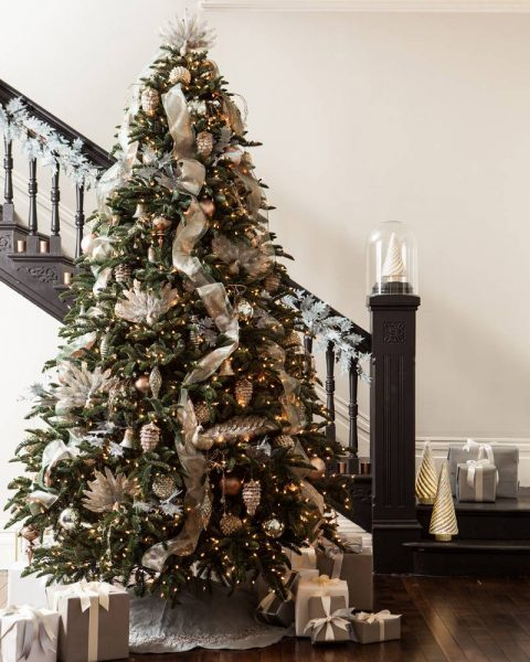 premium artificial tree decorated with rustic ornaments