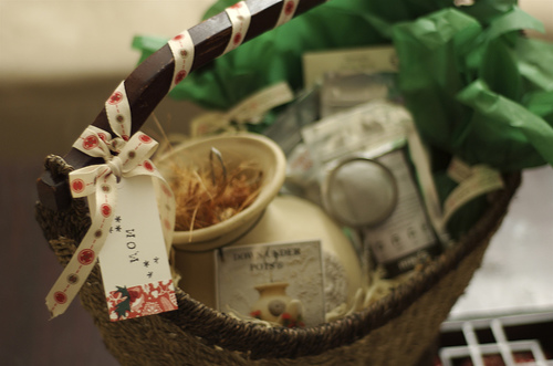 A gift basket filled with treats and adorable trinkets