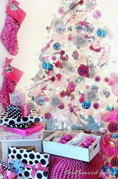 Pink and turquoise color-themed Christmas tree