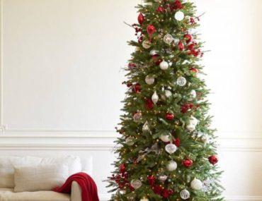 slim christmas tree with minimal decor