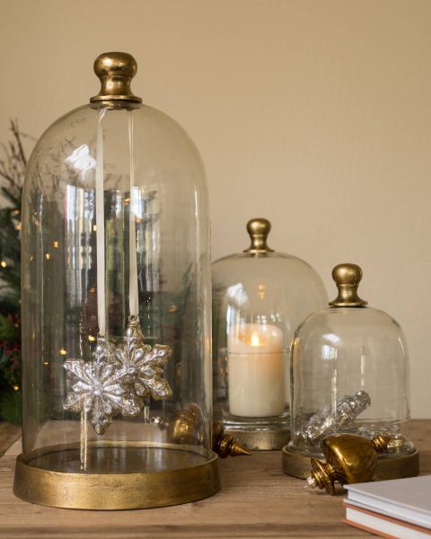Decorative glass cloche holiday decoration from Balsam Hill