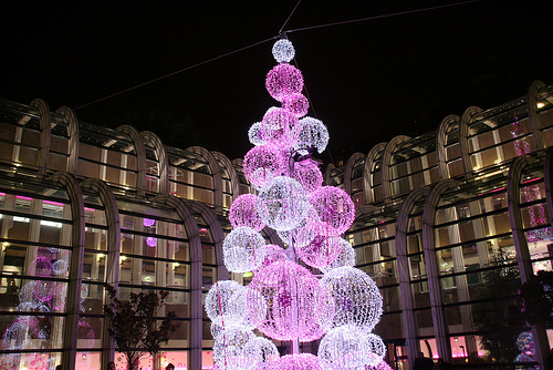 Christmas tree in Forum des Halles shopping centre in Paris