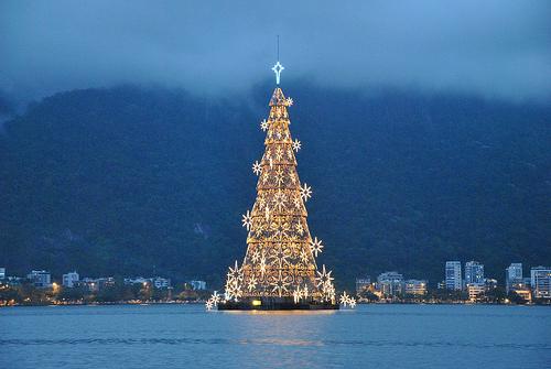 Floating Christmas tree in Rio de Janeiro, Brazil