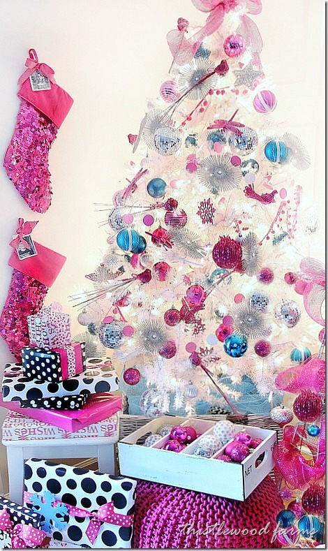 12 bloggers of christmas karianne wood of thistlewood farms - Pink and blue christmas tree ...