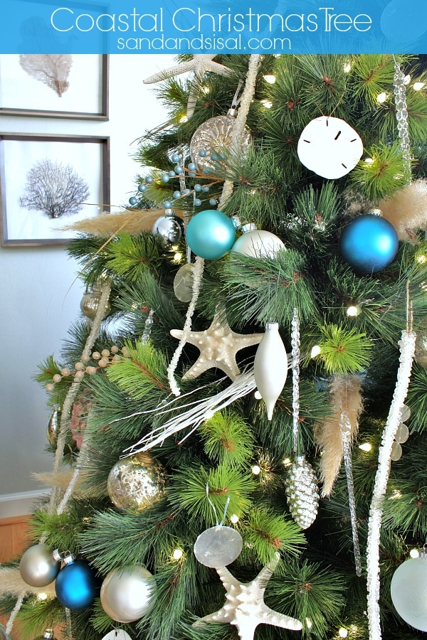 A Christmas tree inspired by the beach and decorated by Kim Wilson using her Balsam Hill artificial Christmas tree