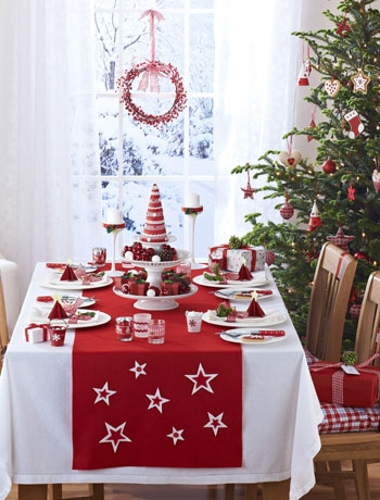 a fun holiday table featuring the festive color of re