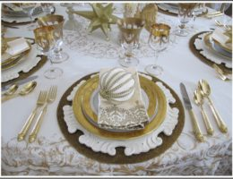 Gold-themed Christmas Tablescape