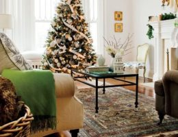 christmas tree beside bay window