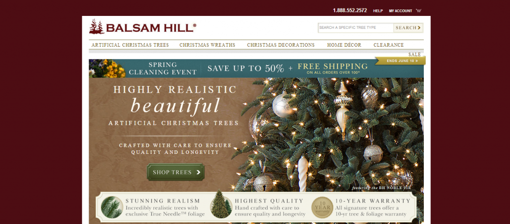 A screencap of Balsam Hill's award-winning website