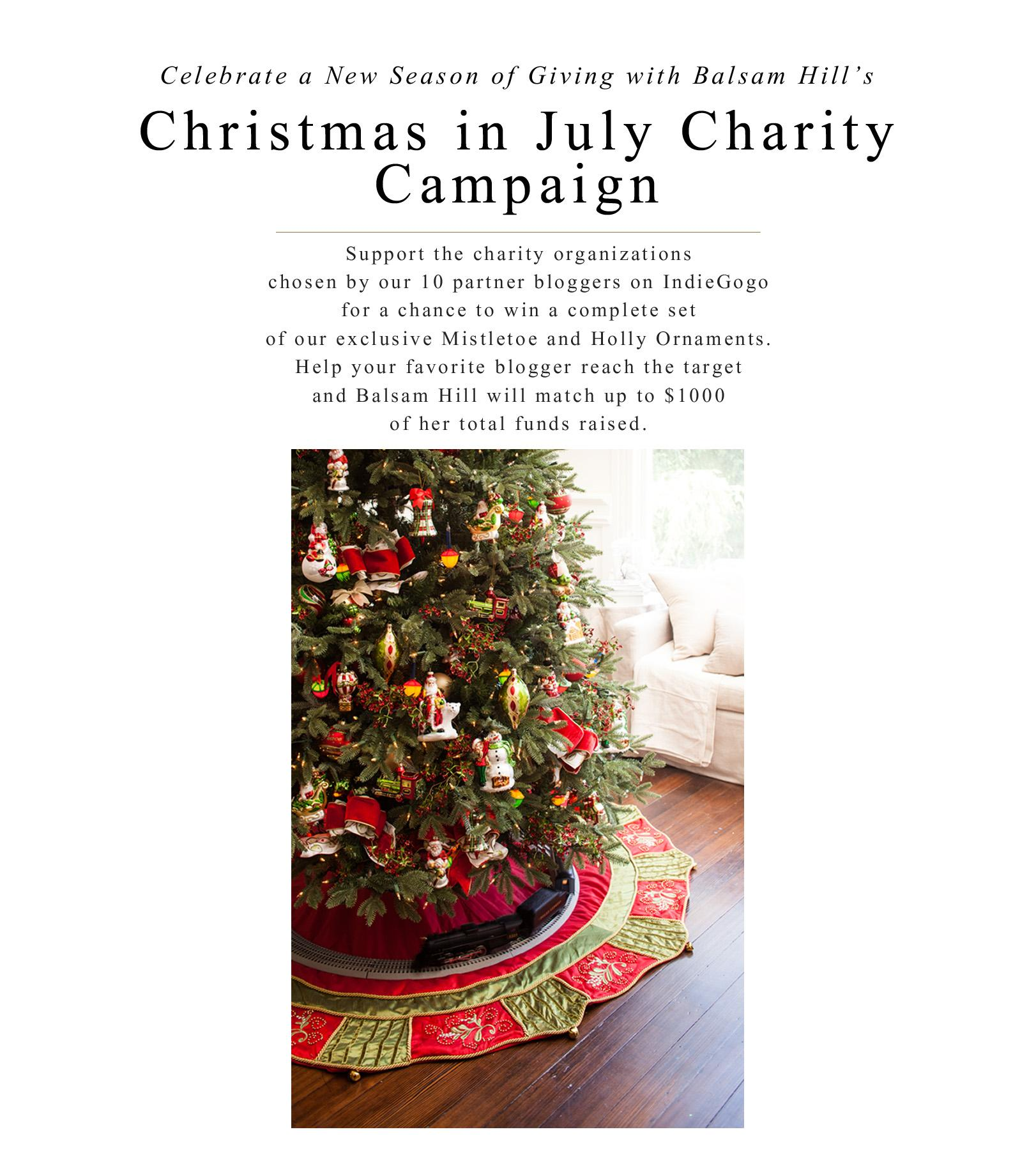 Balsam Hill is celebrating Christmas in July by helping 10 bloggers raise funds for charity all in the spirit of giving.