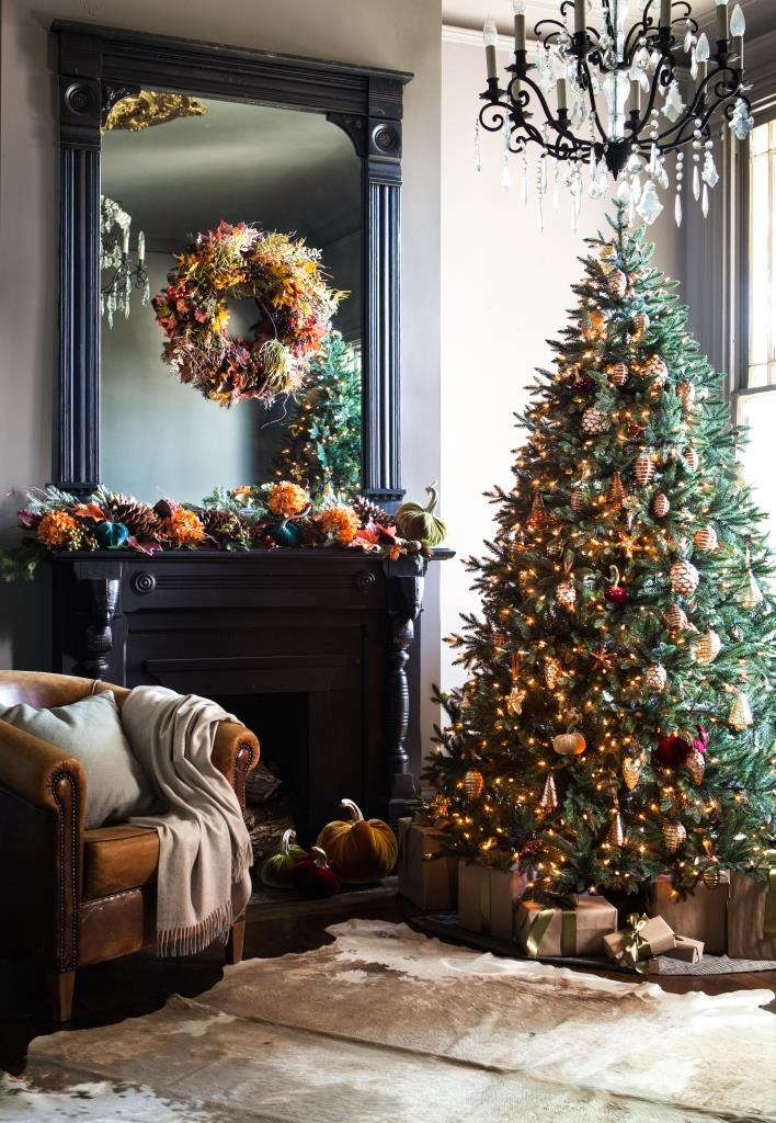 Decorated mantel showcases the colors of the season