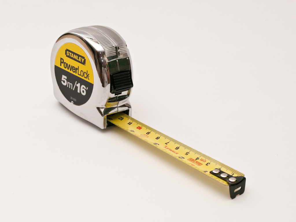 Tape measure extended partially