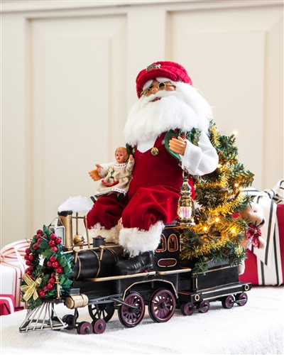 Santa Claus on Train from Balsam Hill