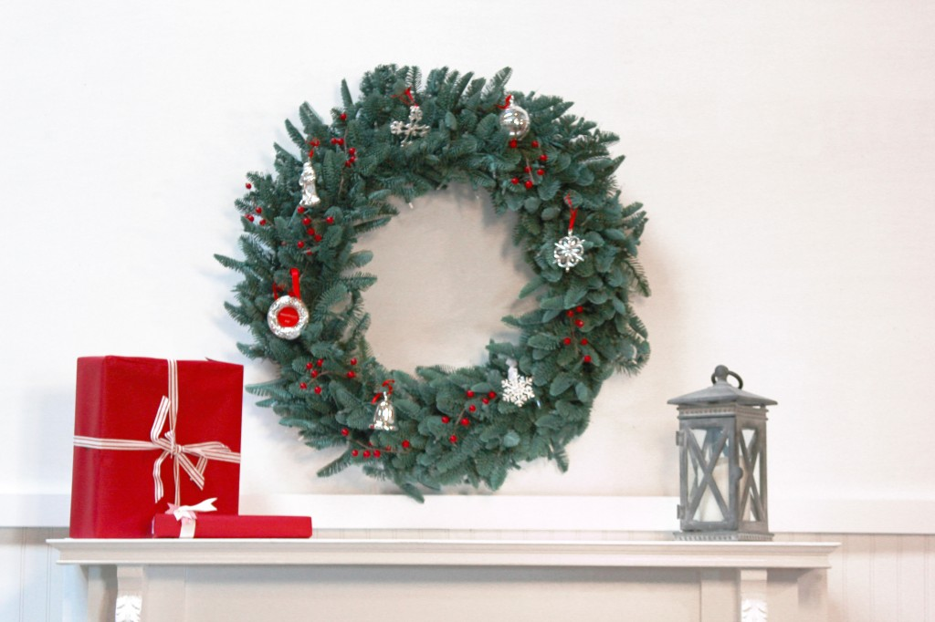 Dagmar Obert Decorates with Reed and Barton Silver Ornaments on BH Noble Fir Wreath