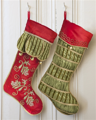 Mistletoe and Holly Christmas Stockings from Balsam Hill