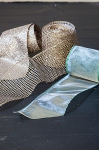 Winter Frost Decorating – Blue Dupioni and Platinum Glitter Christmas Tree Ribbons