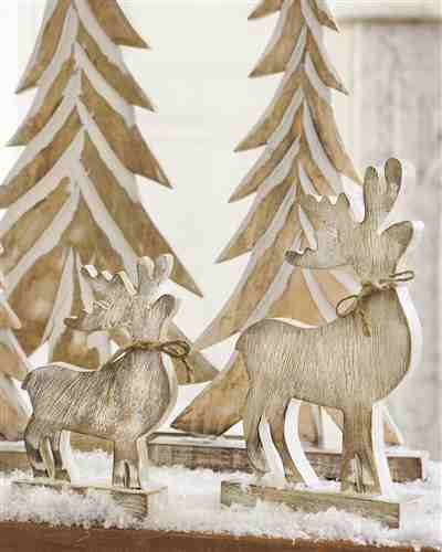 Wood Tabletop Reindeers and Christmas Trees from Balsam Hill