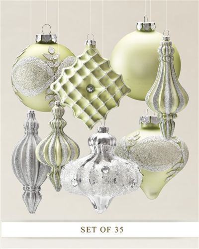 The Sparkle and Snowflake ornament collection by Balsam Hill