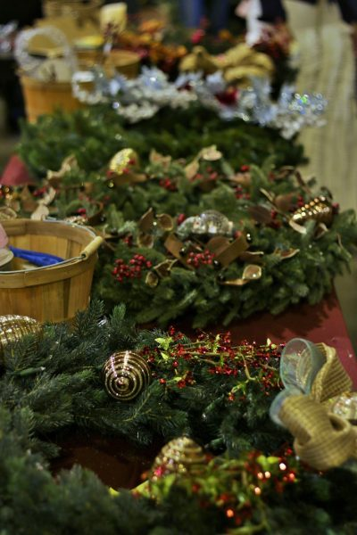 Table setup for wreath decorating contest
