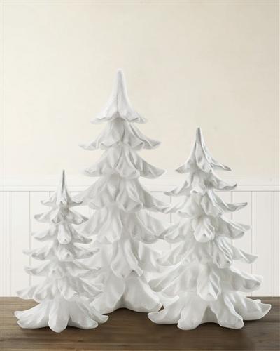 White Glitter Tabletop Trees